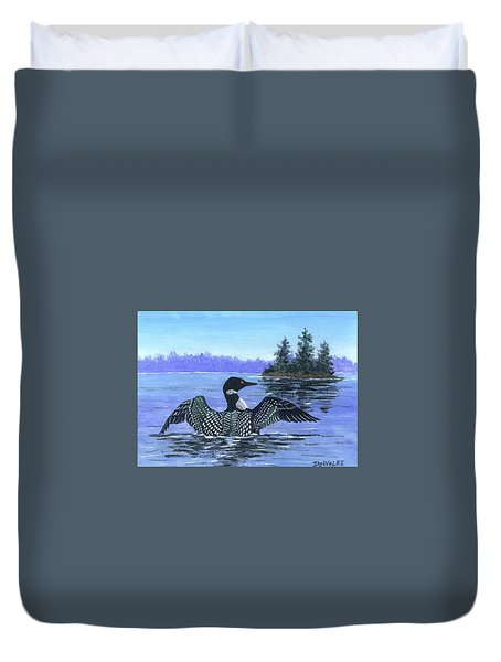 On The Lake Sketch Duvet Cover