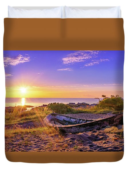 Duvet Cover featuring the photograph On The Last Shore by Dmytro Korol