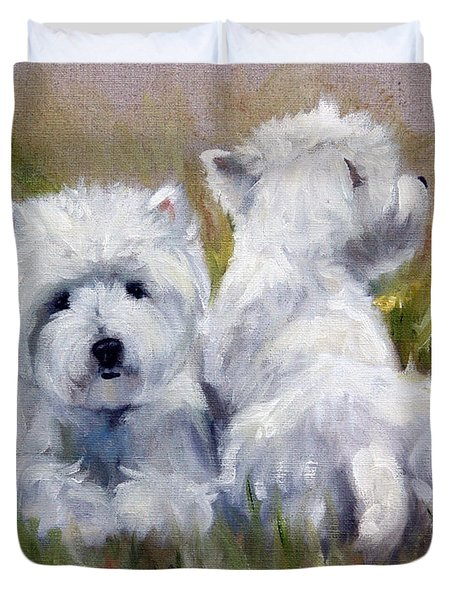 On The Lawn Duvet Cover by Mary Sparrow