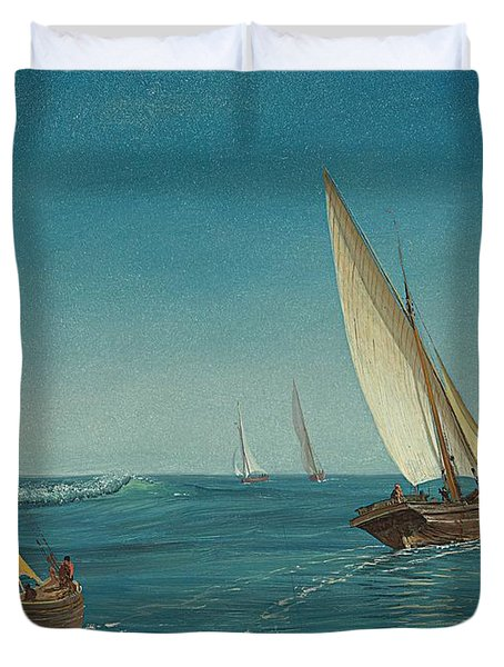 On The Mediterranean  Duvet Cover by Albert Bierstadt