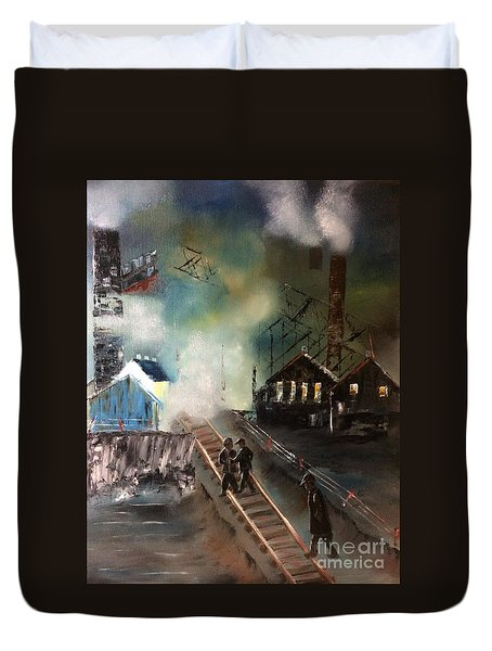 Duvet Cover featuring the painting On The Pennsylvania Tracks by Denise Tomasura