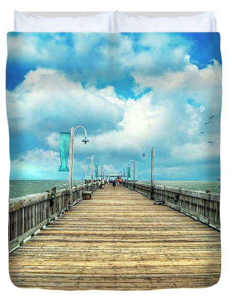 On The Pier At Tybee Duvet Cover