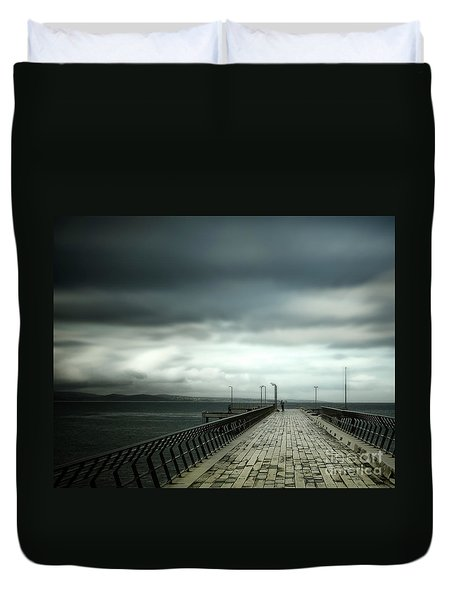 Duvet Cover featuring the photograph On The Pier by Perry Webster