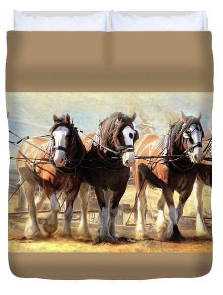 Duvet Cover featuring the digital art  On The Plough by Trudi Simmonds