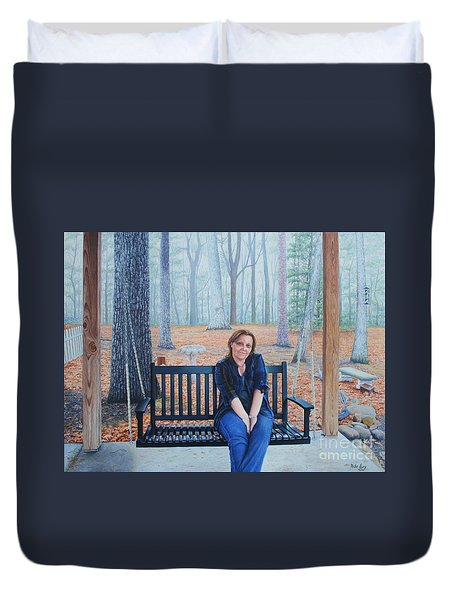 On The Porch Swing Duvet Cover