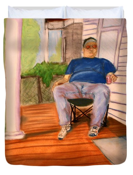On The Porch With Uncle Pervy Duvet Cover