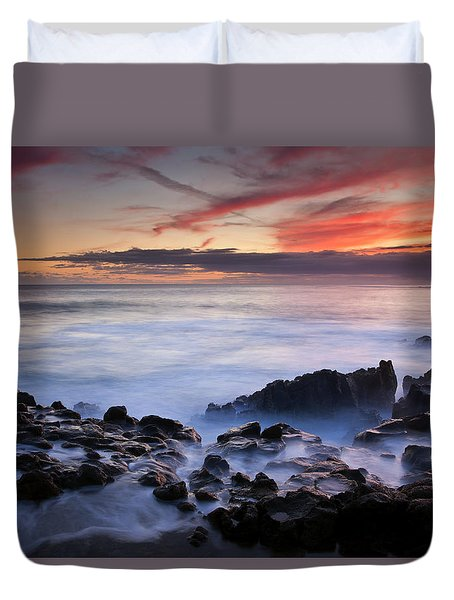 On The Red Rocks Duvet Cover by Mike  Dawson