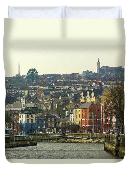 Duvet Cover featuring the photograph On The River Lee, Cork Ireland by Marie Leslie