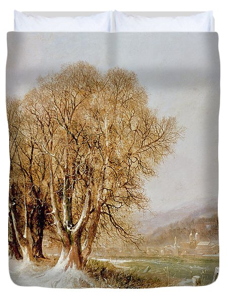 On The River Neckar Near Heidelberg Duvet Cover by Joseph Paul Pettit
