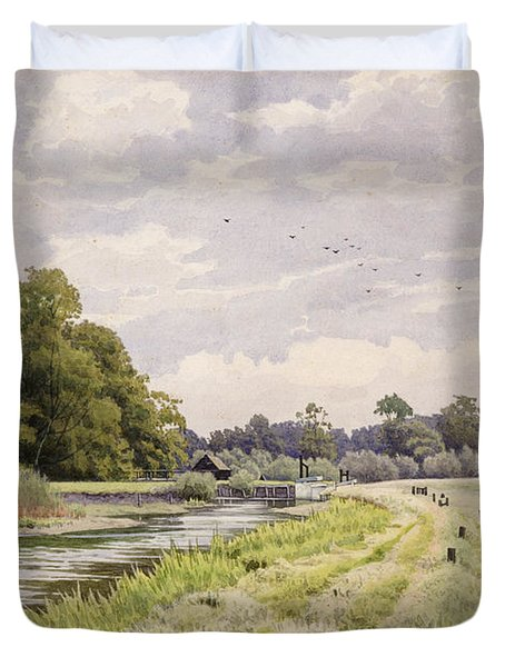 On The River Ouse Hemingford Grey Duvet Cover