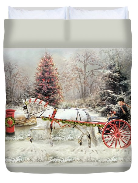 Duvet Cover featuring the digital art  On The Road To Christmas by Trudi Simmonds