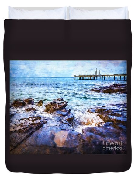 Duvet Cover featuring the photograph On The Rocks by Perry Webster