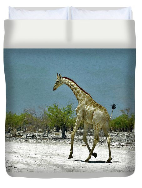 Duvet Cover featuring the digital art On The Run Again by Ernie Echols