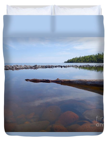 Duvet Cover featuring the photograph On The Shore Of Lake Superior by Sandra Updyke