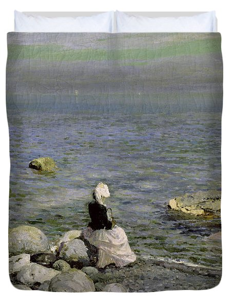 On The Shore Of The Black Sea Duvet Cover by Konstantin Alekseevich Korovin