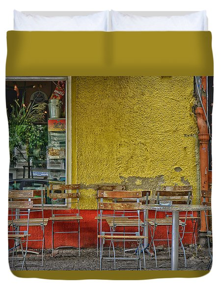Duvet Cover featuring the photograph On The Sidewalks Of Berlin by Uri Baruch