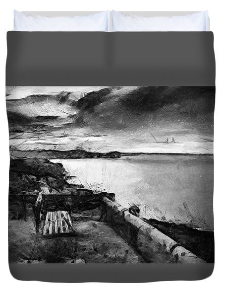 On The Silver Bench Of Honor And Trust Reloaded Duvet Cover by Sir Josef - Social Critic -  Maha Art