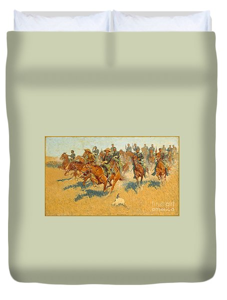On The Southern Plains Frederic Remington Duvet Cover by John Stephens