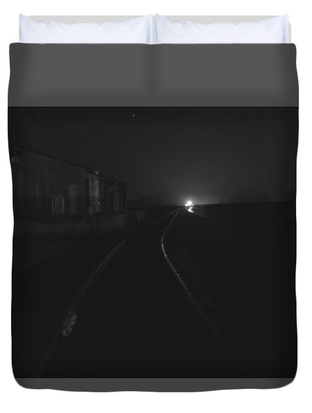 On The Tracks At Night Duvet Cover