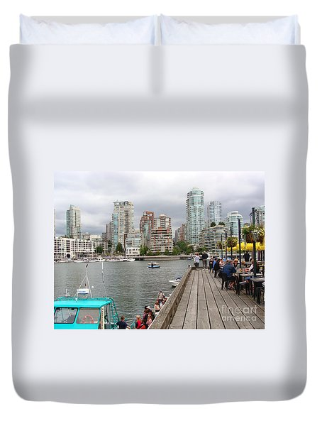 On The Water At False Creek Vancouver Duvet Cover by Rod Jellison