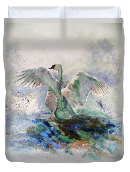 On The Water Duvet Cover by Khalid Saeed