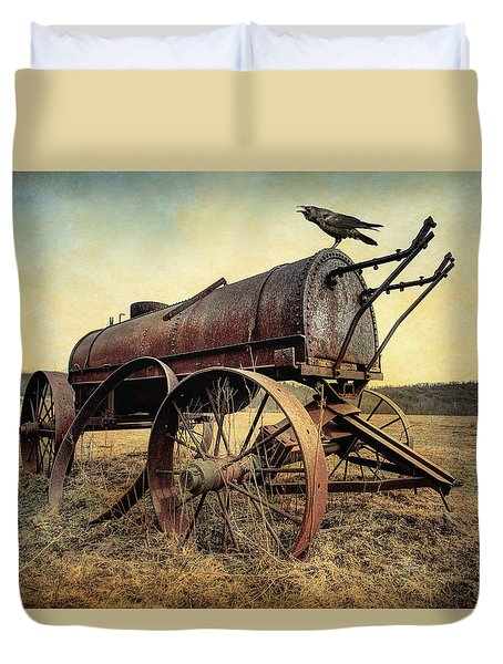 Duvet Cover featuring the photograph On The Water Wagon - Agricultural Relic by Gary Heller