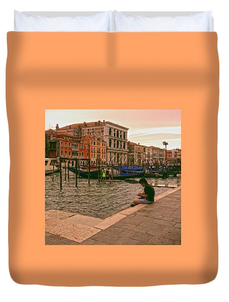 Duvet Cover featuring the photograph On The Waterfront by Anne Kotan