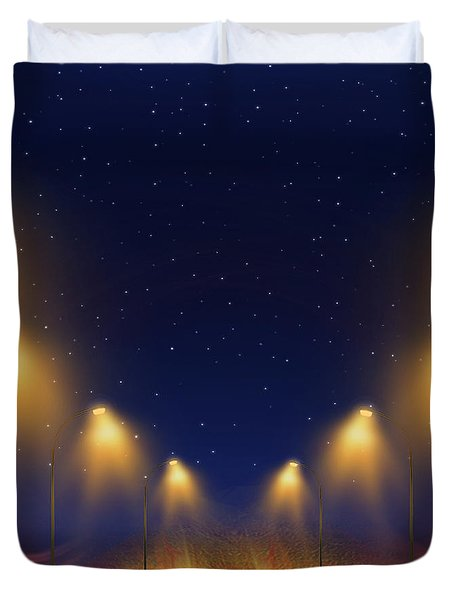 Duvet Cover featuring the digital art On The Way Home - Digital Painting By Giada Rossi by Giada Rossi