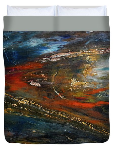 Duvet Cover featuring the digital art On The Way by John Hansen