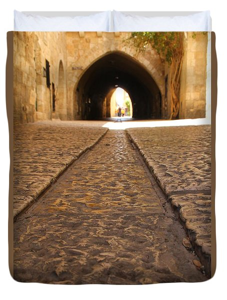 Duvet Cover featuring the photograph On The Way To The Western Wall - The Kotel - Old City, Jerusalem, Israel by Yoel Koskas