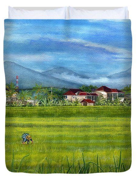 Duvet Cover featuring the painting On The Way To Ubud 3 Bali Indonesia by Melly Terpening