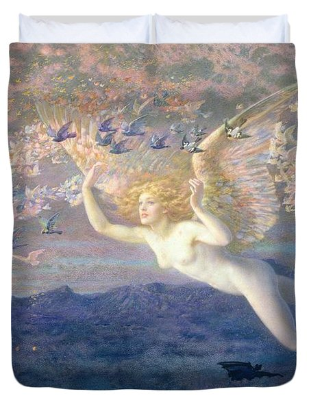 On The Wings Of The Morning Duvet Cover by Edward Robert Hughes