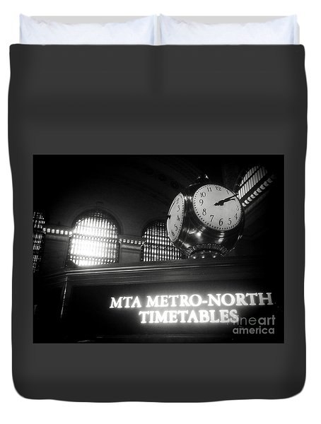 Duvet Cover featuring the photograph On Time At Grand Central Station by James Aiken