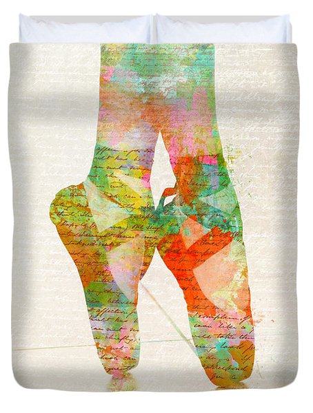 Duvet Cover featuring the digital art On Tippie Toes by Nikki Smith