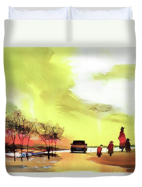 Duvet Cover featuring the painting On Vacation by Anil Nene