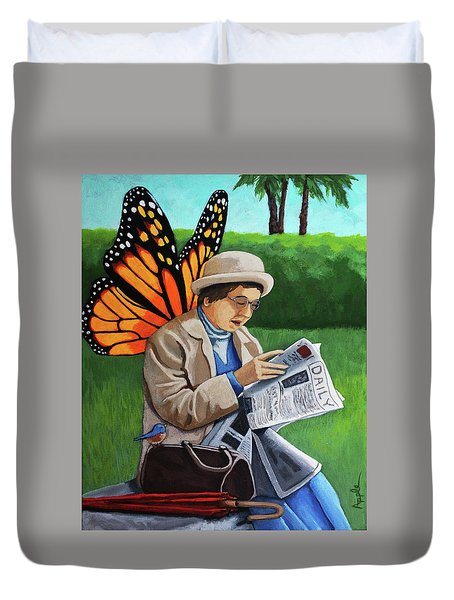 Duvet Cover featuring the painting On Vacation -butterfly Angel Painting by Linda Apple