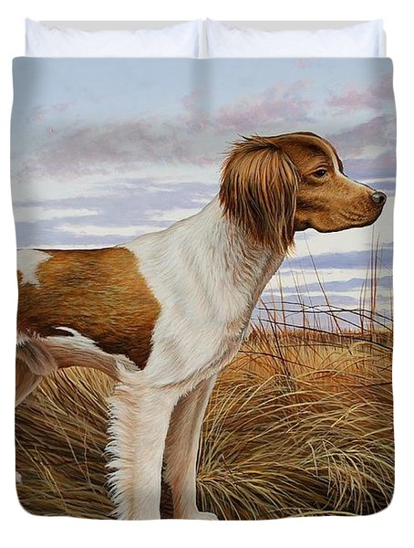 On Watch - Brittany Spaniel Duvet Cover