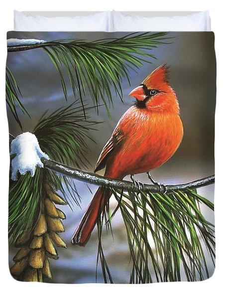 On Watch - Cardinal Duvet Cover