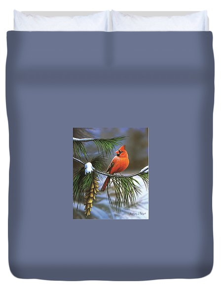 On Watch - Cardinal Duvet Cover