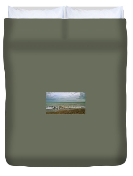 Duvet Cover featuring the photograph On Weymouth Beach by Anne Kotan