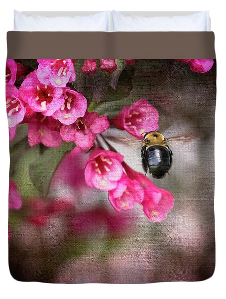 On Wine And Roses Weigela - 2 Duvet Cover by Debra Martz
