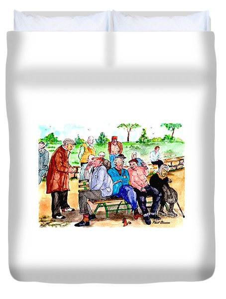 Once Upon A Park Bench Duvet Cover