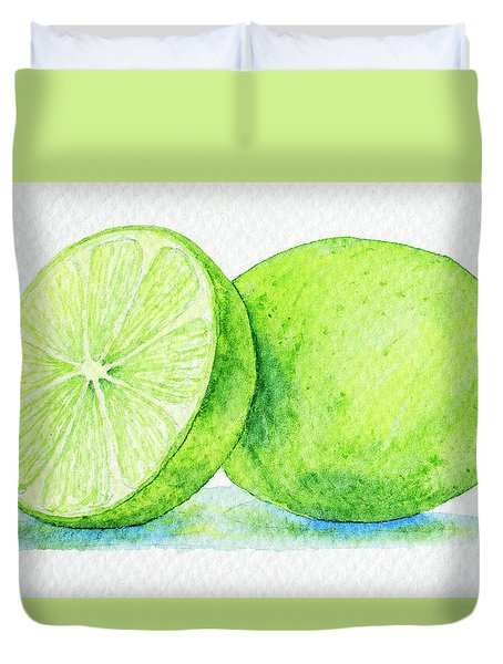 One And A Half Limes Duvet Cover by Rebecca Davis