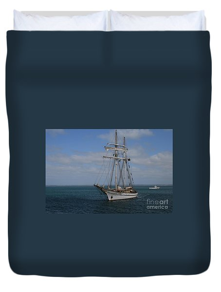 Duvet Cover featuring the photograph Approaching Kingscote Jetty by Stephen Mitchell