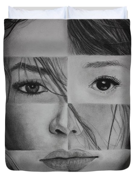 Duvet Cover featuring the drawing One And The Same 1 by Malinda Prudhomme