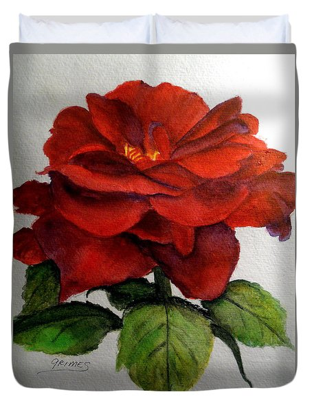 One Beautiful Rose Duvet Cover by Carol Grimes