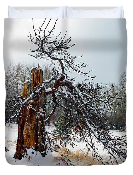 Duvet Cover featuring the photograph One Branch Left by Shane Bechler