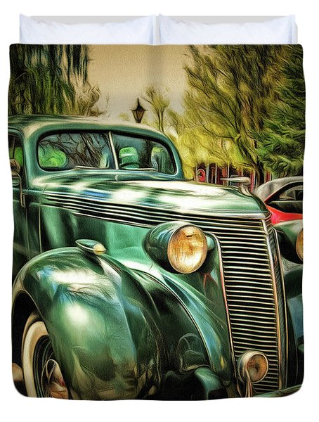 Duvet Cover featuring the photograph One Cool 1937 Studebaker Sedan by Thom Zehrfeld
