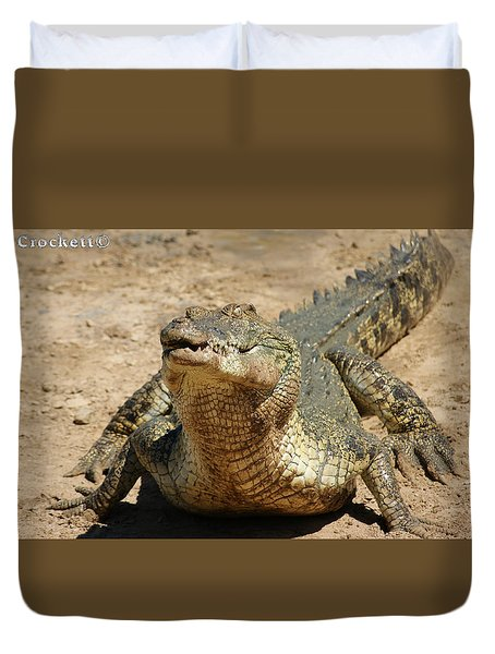 One Crazy Saltwater Crocodile Duvet Cover