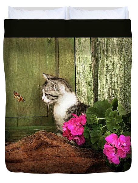 One Cute Kitten Waiting At The Door Duvet Cover